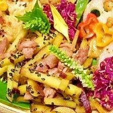 減塩☆豚肉とサツマイモのカレーきんぴら