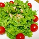 わさび菜のニンニクドレッシングサラダ