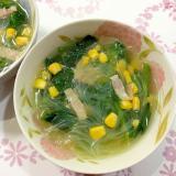 春雨と菜の花のスープ