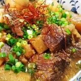 圧力鍋で、牛肉大根蒟蒻の味噌煮