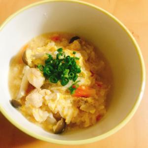 プチッと鍋で簡単♪鶏むね肉ときのこの雑炊