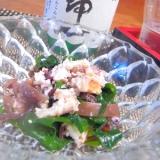 おうち居酒屋、シャコと若布、きくらげの生姜酢の物