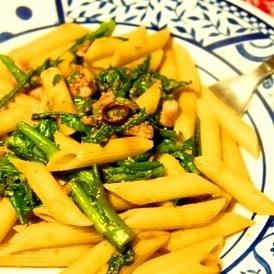 烏賊ゲソワタと菜の花の生姜薫るペペロンチーノ