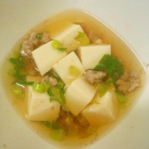 簡単★豚挽き肉と小松菜と豆腐の和風スープ