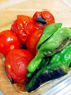 季節のおかず☆ミニトマトとしし唐の焼きびたし