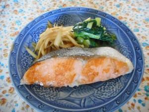 鮭のフライパン焼き、うどキンピラ