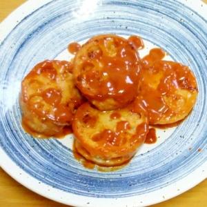ケチャップ風味な洋風鶏ひき蓮根サンドソテー