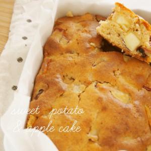 琺瑯バットで さつまいもとりんごのケーキ