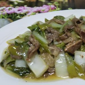 牛肉と白菜と長ねぎと小松菜の中華炒め☆