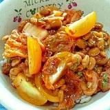 納豆の食べ方-キムチ&梅&トマト&大葉♪