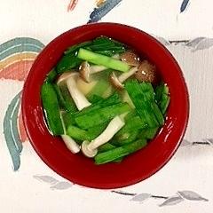 にら、木綿豆腐、ブナシメジのお味噌汁