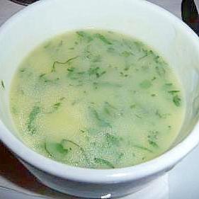 大根の葉で作る ミルクスープ