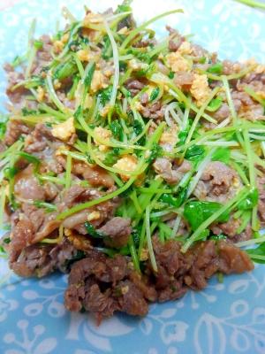 豆苗と牛肉の簡単炒め