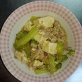 豆腐と豚肉とブロッコリーの炒め物