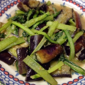 なすと小松菜のごま味噌炒め