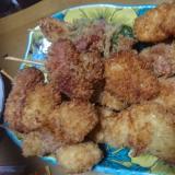 ウインナーと鶏肉の串揚げ
