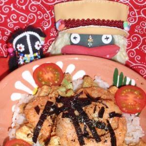 胡麻風味の海老カド丼