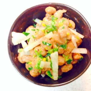 きざみ菜花と大根入り納豆
