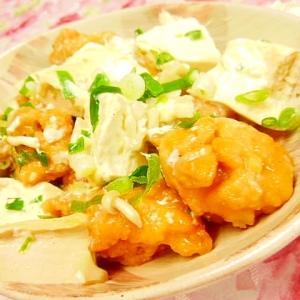 塩麹きのこde❤木綿豆腐と鶏唐揚げのマヨ生姜炒め❤