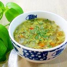 いつもなら捨ててしまう部分で野菜スープ