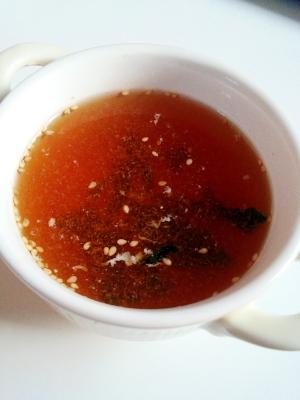 鶏ハムのゆで汁で♪簡単注ぐだけ♪わかめの中華スープ