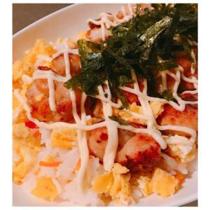 大さじ2の油で揚げ焼き♪味噌唐揚げのマヨちらし寿司