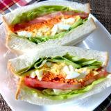 具沢山サンドイッチ&綺麗な切り方❤️食べる時衛生的