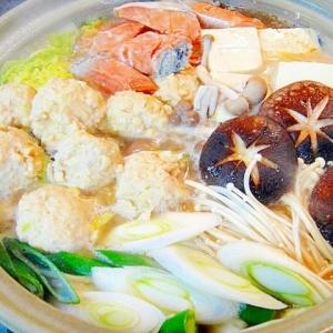 鶏団子と鮭の味噌鍋