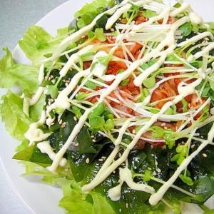 レタスとわかめキムチのサラダ
