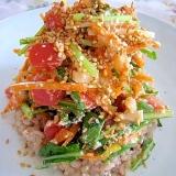 和中コラボで春のピリ辛♪筍壬生菜の豆腐ドレサラダ丼