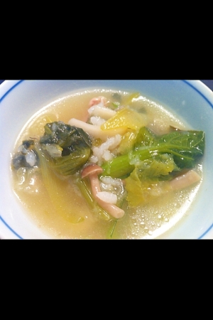 小松菜と白菜の雑炊