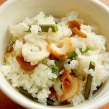 まな板なし!竹輪と山菜の炊き込みご飯♪(塩味)
