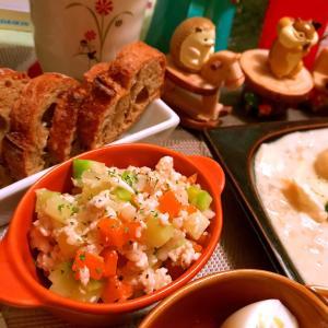 鶏ささみとコロコロお野菜のぷちぷち大麦サラダ