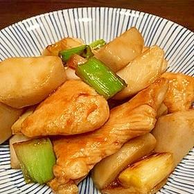 すき焼きのタレで☆胸肉と里芋の炒め物