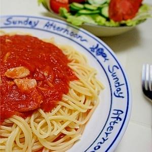にんにくとベーコンのピリ辛トマトソーススパゲッティ