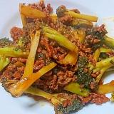 ひき肉とブロッコリーのケチャップソース炒め