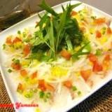 野菜と一緒に食べる 白身魚のカルパッチョ