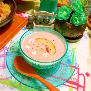 桃とラズベリーのひんやりとろける豆乳ポタージュ
