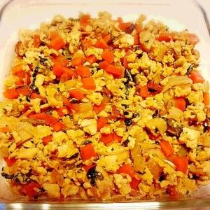 野菜たっぷり! 卵入り炒り豆腐☆
