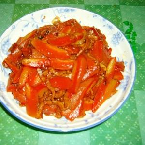 人参と豚肉の甜麺ジャン炒め