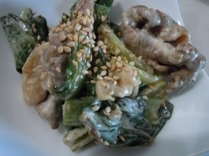 牛肉と小松菜の和風マヨ炒め