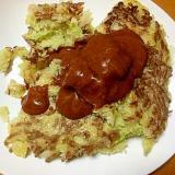ツナとひき肉とキャベツのお好み焼き