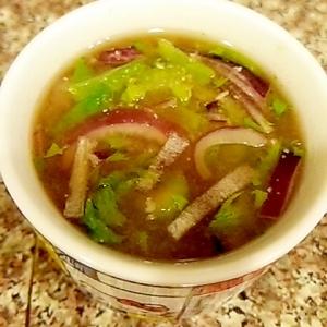 紫玉ねぎとセロリのおからお味噌汁