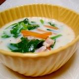 ビタミン補給♪ほうれん草とベーコンのミルクスープ