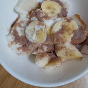 ココアヨーグルトで食パンのバナナスイーツ