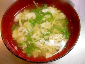 簡単時短な☆水菜と卵のすまし汁☆