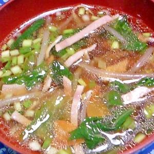 ハムと野菜のわさび醤油汁