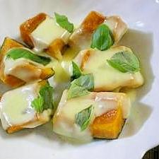 レンチン☆かぼちゃのバジルチーズ