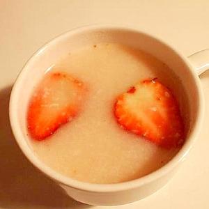 苺と酒粕で幸せな白いココア♪