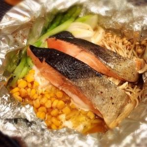 トースター15分★鮭とコーンのホイル焼き